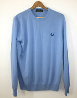 Fred Perry Green Label Made In Italy Light Blue Sweater Crewneck Cotton Men's XL