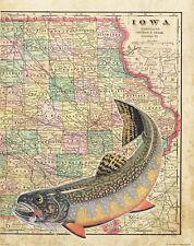Brook Trout Unlimited Fly Fishing Club Iowa State Map Art Print Flies Rod MAP16