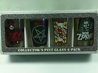 METAL BANDS SET OF 4 16 OZ GLASS PINT BEER GLASSES COLLECTOR'S SERIES NEW SET