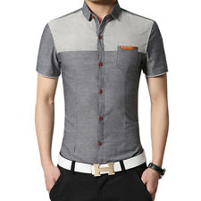 Fashion Men Slim Fit Button Down Shirt Business Short Sleeve Casual Dress Shirts