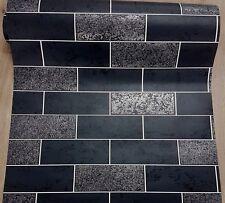 Brick Effect Wallpaper Tile Black Kitchen Bathroom Glitter Silver