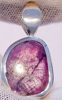 Handmade Natural Trapiche Ruby pendant Unheated 925 sterling silver free ship