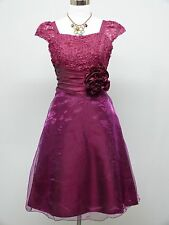 Cherlone Purple Prom Ball Evening Wedding Knee Length Bridesmaid Dress 14-16