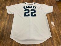Kazuhiro Sasaki Seattle Mariners Authentic White MLB Baseball Jersey - 2XL