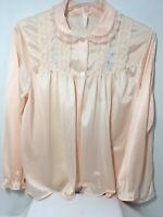 Vintage Peach Bed Jacket Lace Embroidery 2 Button Front  Lingerie  Size Medium