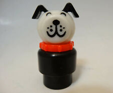 Vintage Fisher-Price Little People dog Lucky Dog with red Collar black ears