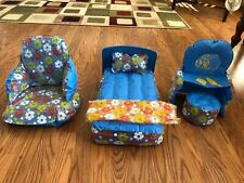 New listing Vintage Barbie inflatable bow up flowered bedroom set with chair, vanify 1970's