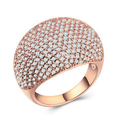 Gorgeous Women 925 Silver,gold,rose Gold Round Cut White Sapphire Ring Size 6-10