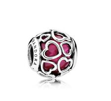 Pandora Charms Authentic Pandora Pink Cerise Encased In Love Charm #792036NCC