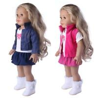 3pcs/set Girl Doll Clothes Dress Suit Set Top Skirt Coat for 18inch Girls Dolls