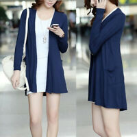 Womens Open Pockets Solid Color Cotton Long Sleeve Cardigan Casual Tops