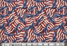 Patriotic Packed Flag & Flying Eagle Made in USA 100% cotton Fabric by the yard