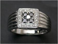 Moissanite signet Ring size T 9ct White Gold Unusual B/ham HM c2007 Men's Man's