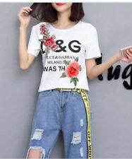 Embroidered Floral Cotton White Top #A10322