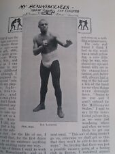 Boxing Boxer Life of Sam Langford Rare Old Antique 1909 Article Pugilism Bouts