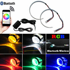 2pcs App Bt Remote Control Rgb Led Demon Eye Halo Ring: Headlight Projector Lens
