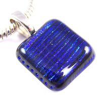"DICHROIC Fused Glass PENDANT Blue Sapphire Cobalt Stripes Patterned 3/4"" 20mm"
