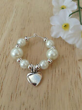 X1 Glass Pearl Heart wine glass charms.Friend, Gift, present/Christmas, Birthday
