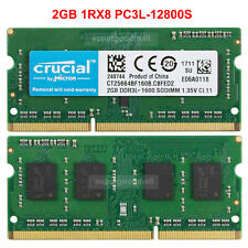 For Crucial 2GB 1Rx8 PC3L-12800S DDR3-1600MHz 204Pin SODIMM Laptop Memory RAM