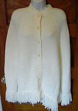 Vtg Hand Knit by Pauline Henline Button Front Cape Sweater White Large/ Xl? Fs!