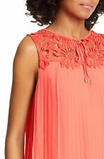 Ted Baker SHERBEY Pleated lace blouse RRP £119 Size 2 UK 10 Red Top