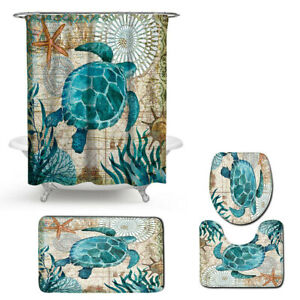 Sea Turtle Shower Curtain Sets with Non-Slip Rugs Toilet Lid Cover and Bath Mat