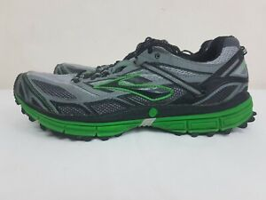 Mens Brooks Black/Green Sz 11.5 Running Shoes Hiking Trail Athletic Sneakers GYM