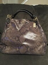 COACH MADISON MAGGIE IM/GRAPHITE REPTILE SNAKE HOBO HANDBAG PURSE 33443 HTF!