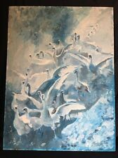 Vintage Painting by  Alfred Zeller Oil on Board Beautiful Snow Geese