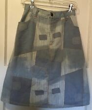 Vintage 70's Women Small DENIM Patchwork Print Knee Length Skirt Zipper Pockets