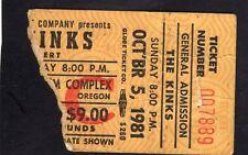 1981 The Kinks concert ticket stub Oregon You Really Got Me Lola