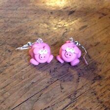 Pig earrings drops handmade gift cute nickle free emo Oink