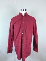 L.L. Bean Mens Button Down Shirt Red Plaid Wrinkle Resistant Cotton Big & Tall M