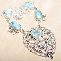 "Handmade Pale Blue Caribbean Larimar 925 Sterling Silver 20.5"" Necklace #N01324"