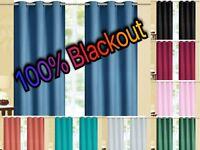 Kendal 100% BLACKOUT Foam Back Window Curtain Set - Two Panels All Size / Colors