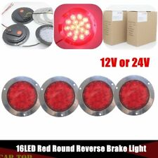 "4X 4"" 16LED Red Round Reverse Brake Turn Signal Rear Truck Tailer Light RV Lorry"
