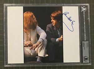 Paul McCartney THE BEATLES Signed Autograph Auto Photo Beckett BAS SLAB