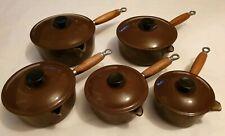 Le Creuset Set Chocolate Brown Cast Iron Enamel Saucepans Sizes 14 16 18 20 22