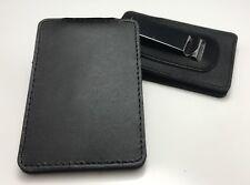 Leather Badge Holder, Black, Neck & Belt, Police / Security, ID