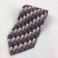 DIMOSSIO HANDMADE SILK NECKTIE TIE Cascading Brick Pattern Purple
