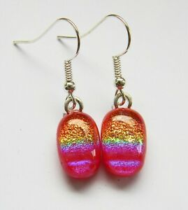 Genuine Hand Crafted Dichroic Glass Earrings - Red Sunsets