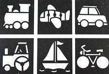 6 Stencils  Children's Stencil Crafts  Train Airplane Boat Tractor Theme NO6