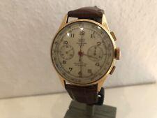 Grosser Chronographe Suisse Britix Landeron 248 Massiv 750 Gold ca 1940 Überholt