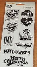 CLEAR ACRYLIC FISKARS STAMPS  OCCASIONS  ~ HOLDAYS  wks CTMH blk