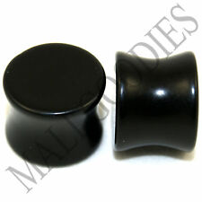 "0462 Double Flare Saddle Solid Black Acrylic Ear Plugs 9/16"" Inch Plugs 14mm"