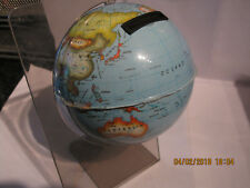 VINTAGE GLOBE MONEY BOX ON PLASTIC STAND