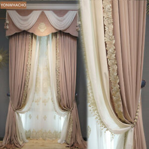 French luxury dirty pink velvet cloth blackout curtain valance tulle panel C076