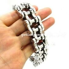 "Mens Huge Heavy Stainless Steel Hip Hop Motor Bike Chain Bracelet 23mm 9"" Hot"