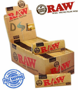 Raw Classic Single Wide Paper Box Standard Regular Natural Smoking Rolling Paper
