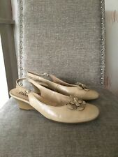 Gabor Taupe Nude Leather Wedge Low Heel Slingback Size 39.5 Uk 6.5